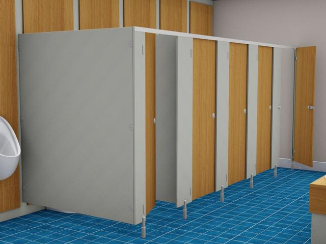 Original Washroom toilet cubicles, Vanity unis and Service duct panels