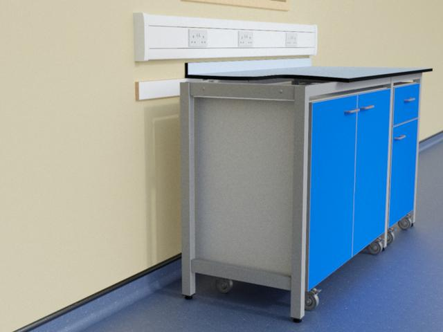 Mobile units in A frame support system with Trespa Toplab worktop